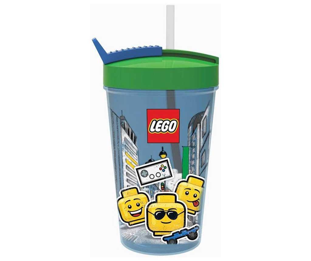Skodelica s pokrovom in slamico Iconic Boy Lego Blue 500 ml
