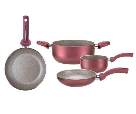 Czteroczęściowy zestaw naczyń do gotowania Uniqum Rubino