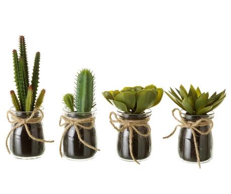 Zestaw 4 sztucznych roślin w doniczce Cactus Town
