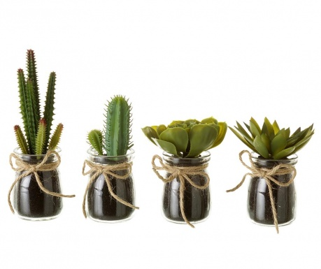 Комплект 4 изкуствени растения в саксия Cactus Town