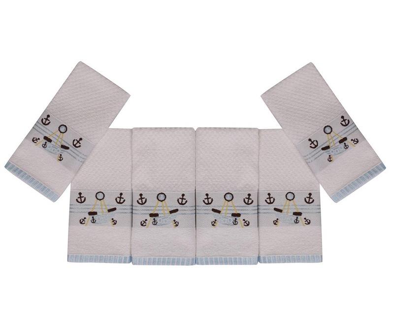 Set 6 dječjih kupaonskih ručnika Bordurlu Beyaz Cipa Ve Kayik 30x50 cm