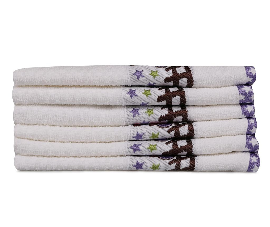 Set 6 prosoape de baie copii Bordurlu Beyaz Renkli Tren 30x50 cm