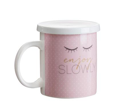 Чаша с капак и инфузер Enjoy Pink