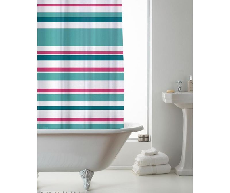 Zavjesa za tuš Ace Striped Pink Teal 180x180 cm