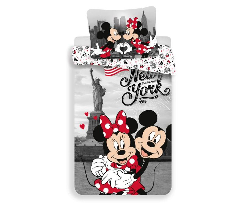 Posteljina Single Ranforce Minnie and Mickey in New York