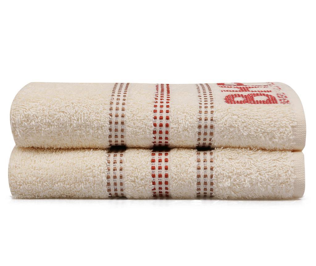 Set 2 kupaonskih ručnika Botanik Cream 50x90 cm