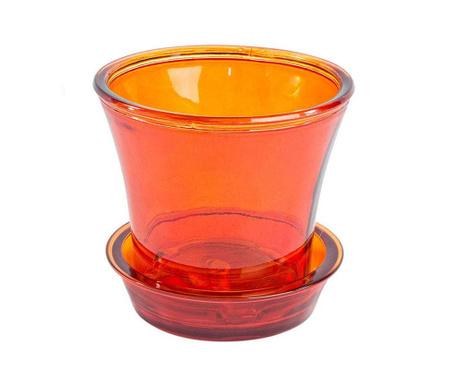 Ginerva Transparent Vibrant Orange Virágcserép alátéttel
