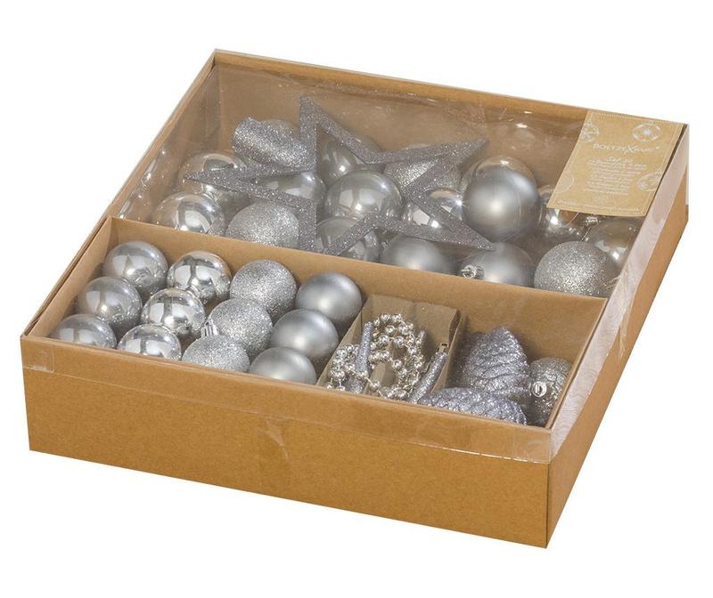 Set decoratiuni pentru brad 50 piese Silver Christmas