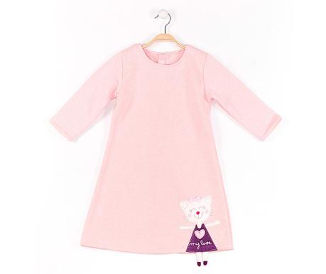 Rochie cu maneca lunga pentru copii Cat Pink 6 ani