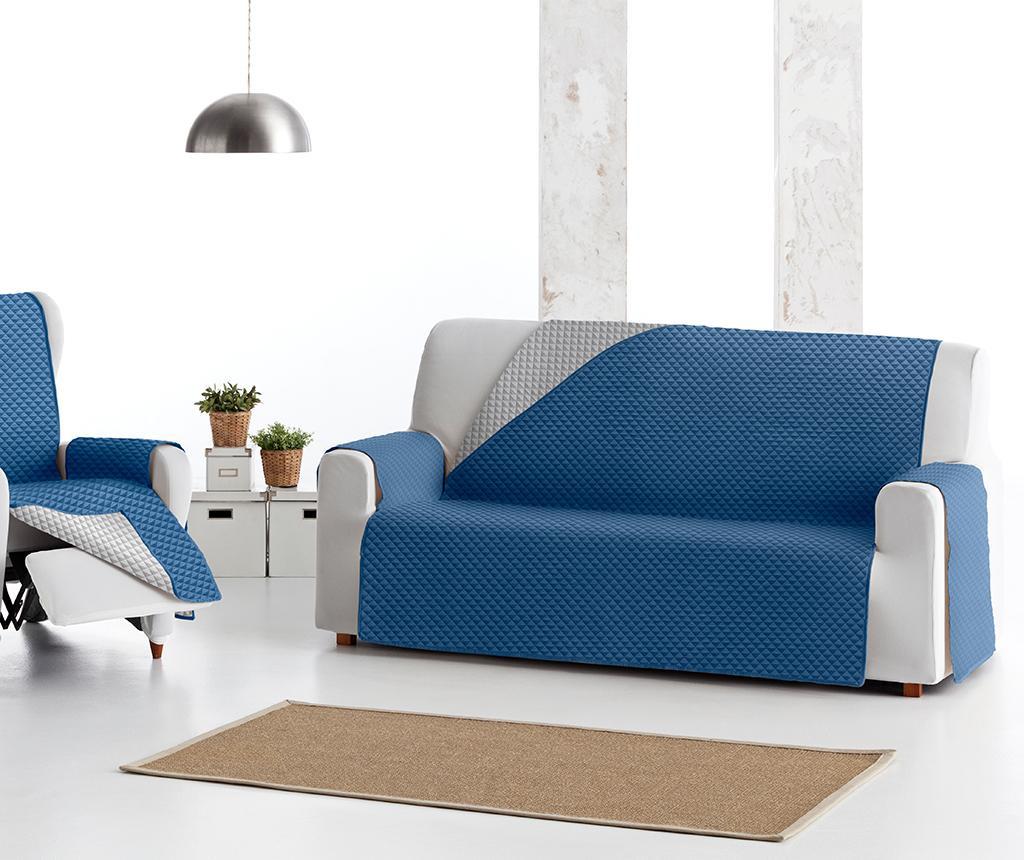 Husa matlasata pentru canapea Oslo Reverse Blue & Light Grey 190 cm