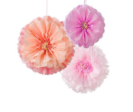 Комплект 3 висящи декорации Flower