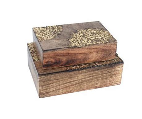Set 2 cutii cu capac Acacia