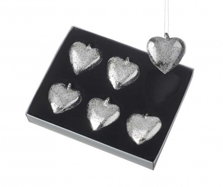 Set 6 decoratiuni suspendabile Silver Hearts