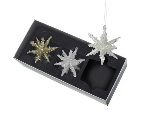 Set 3 decoratiuni suspendabile Glass Star