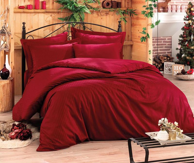 Posteľná bielizeň King Satin Stripe  Claret Red Two