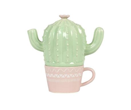 Set - čajnik s skodelico Pastel Cactus