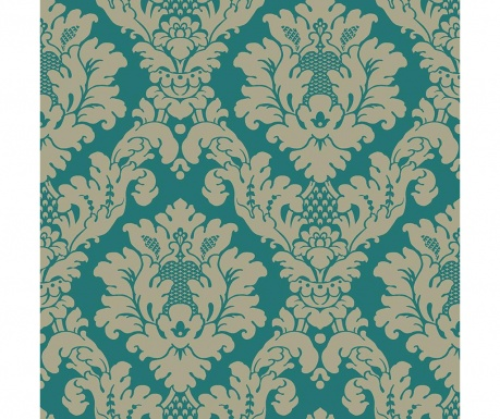 Tapeta Da Vinci Damask Teal Gold 53x1005 cm