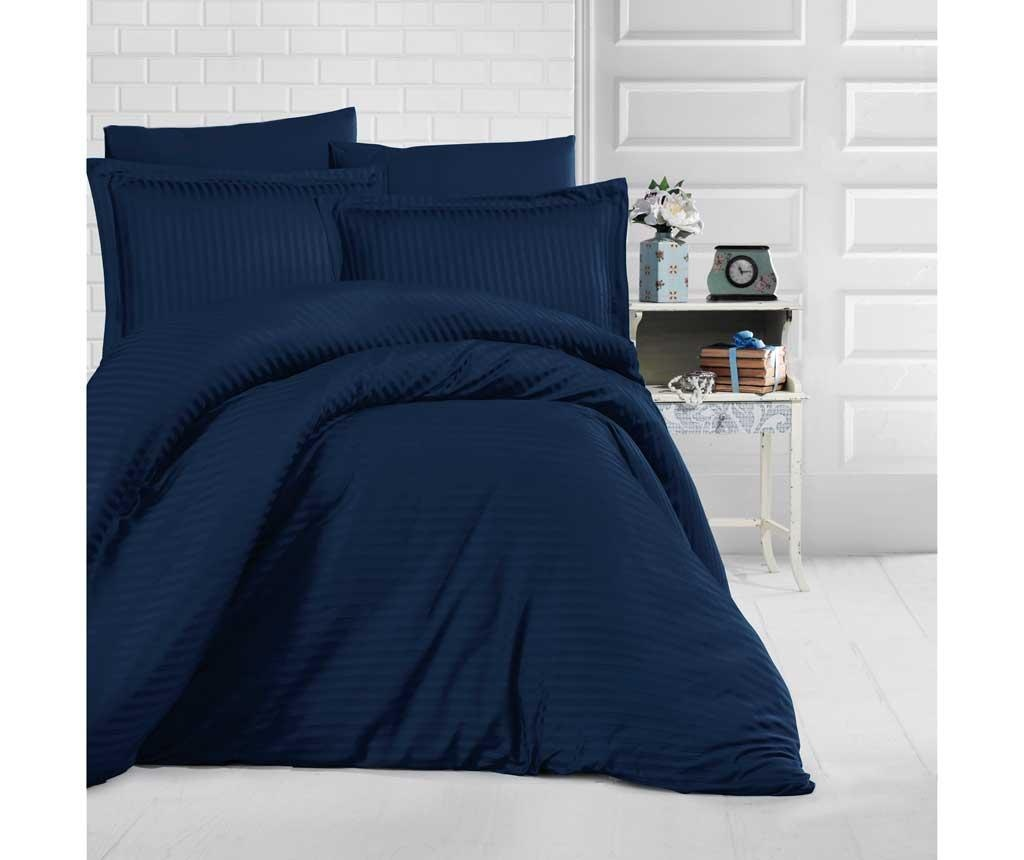 Posteljnina King Sateen Supreme Simple Dark Blue 200x220