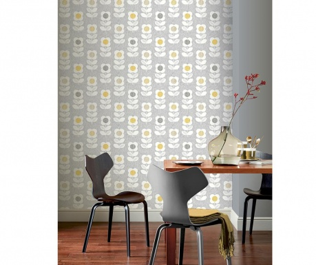 Tapeta Retro Floral Grey Yellow 53x1005 cm