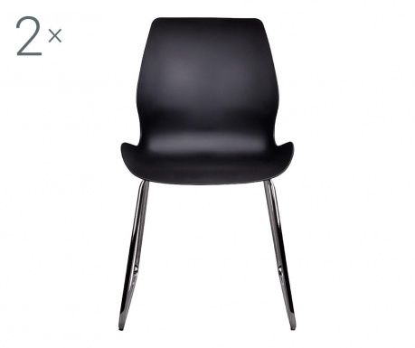 Zestaw 2 krzeseł Sola Black