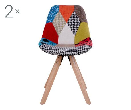 Zestaw 2 krzeseł Sanvik Patchwork