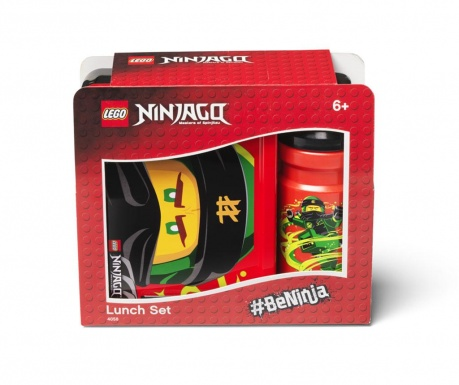 Set kutija za užinu i sportska boca Ninjago Red and Black