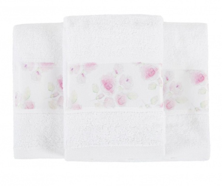 Σετ 3 πετσέτες μπάνιου Almada Roses 30x50 cm