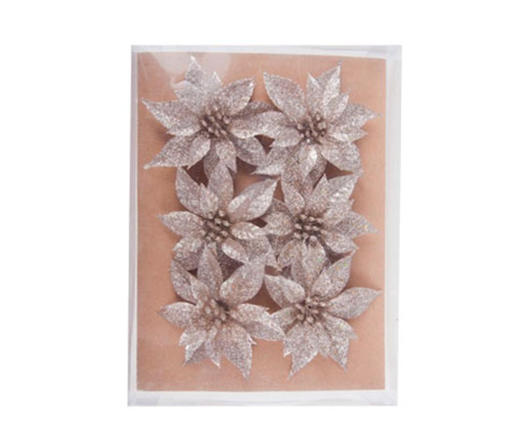 Set 6 dekoracij Poinsettia Silver Mini