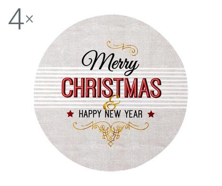 Zestaw 4 podkładek stołowych Merry Christmas Text 33 cm
