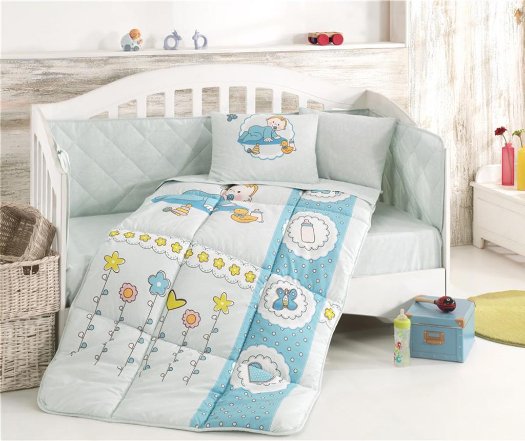 Posteljina za krevetić i poplun Ranforce Happy Baby Blue