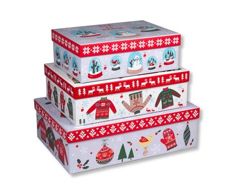 Set 3 škatel s pokrovom Christmas Rectangular