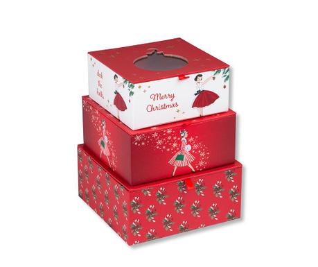 Set 3 škatel s pokrovom Red Christmas