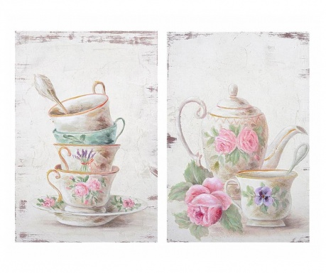 Set 2 tablouri Tea Time 20.3x30.5 cm