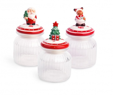 Set 3 posude s  poklopcem Xmas 650 ml