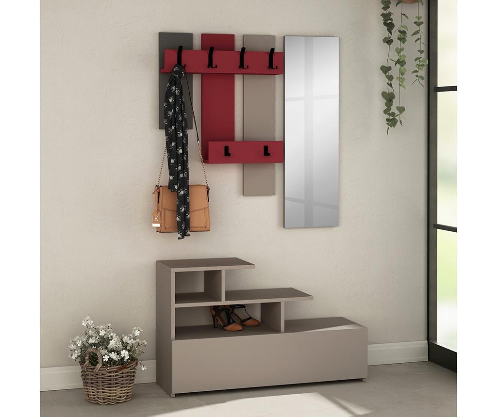 Set - omara za čevlje, obešalnik in ogledalo Vesty Light Mocha Red