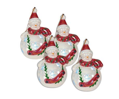 Set 4 viseća svjetleća ukrasa Snowman