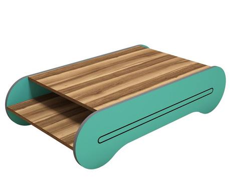 Konferenční stolek Cool Walnut Turquoise