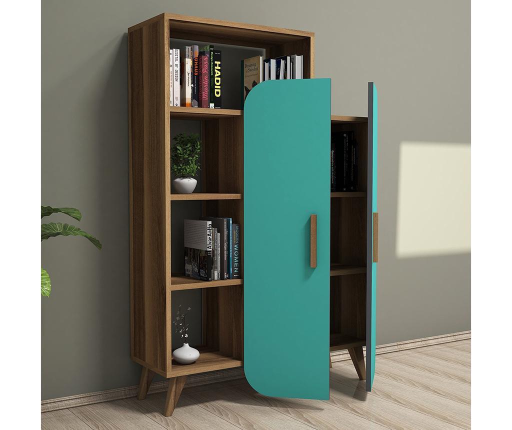 Form  Walnut Turquoise Könyvszekrény