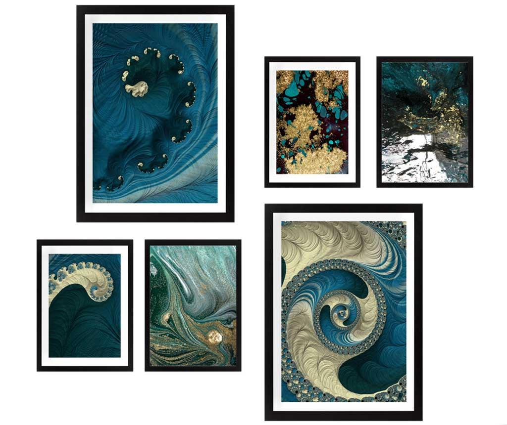 Set 6 slik Blue Spirals