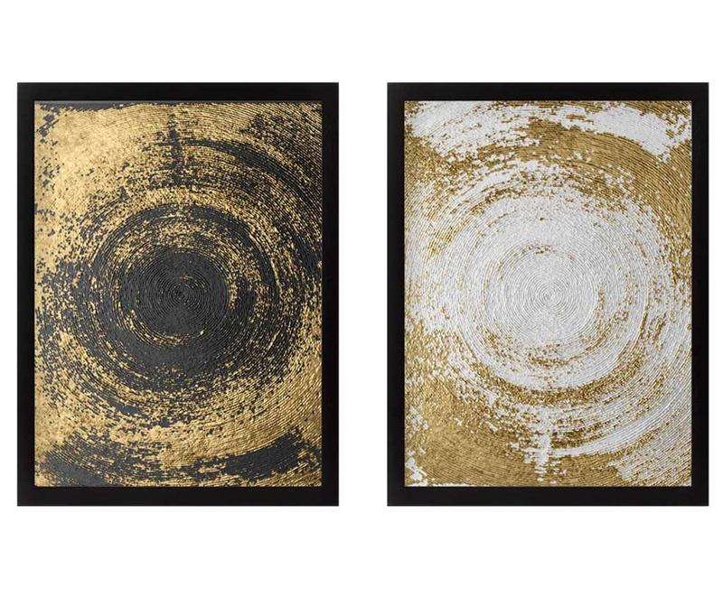 Set 2 slike Circles Golden 34x44 cm