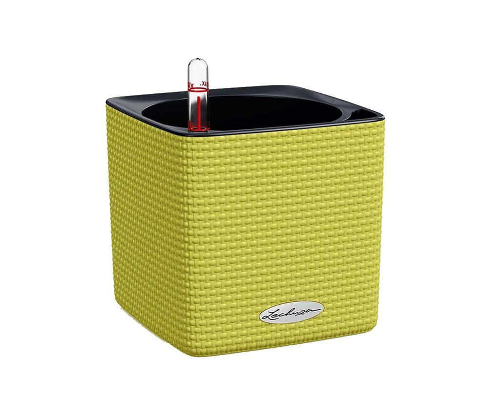 Set ghiveci cu sistem autoirigare si suport Cube Colors Lime