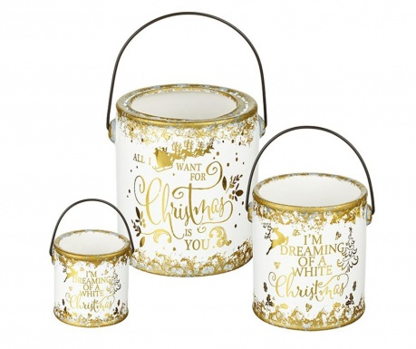 Set 3 galeti decorative Christmas  White and Gold