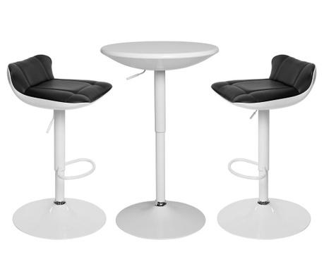 Σετ τραπέζι και 2 σκαμπό μπαρ Pretty White and Black