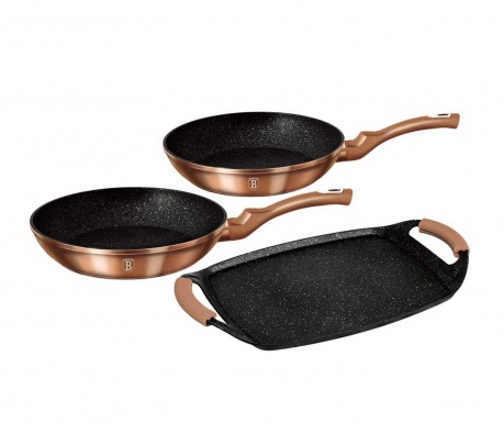 3-dijelni set posuda za kuhanje Metallic Grill Rose Gold