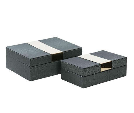 Set 2 cutii cu capac Milo Green