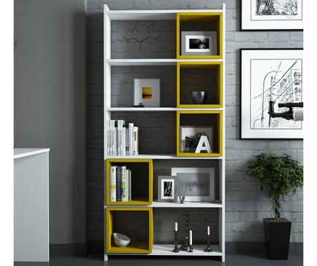 Set regal za knjige i 5 modularnih polica Devona White and Yellow