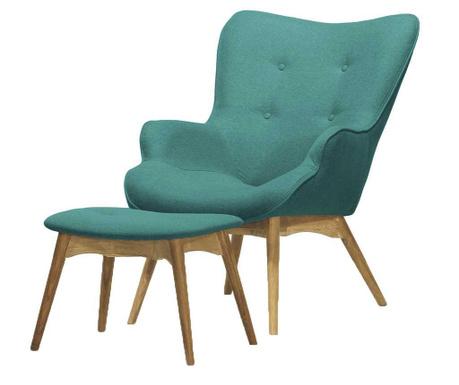 Комплект фотьойл и табуретка за крака Ducon Ontario Cream Turquoise