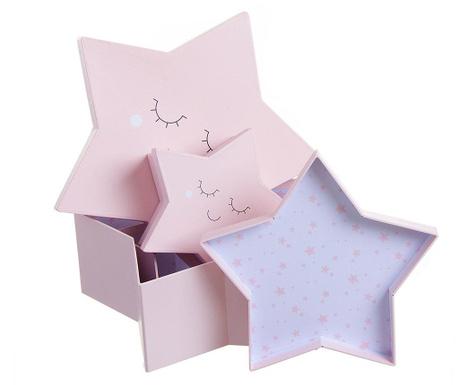 Zestaw 3 pudełek z pokrywką Dreamy Star Pink