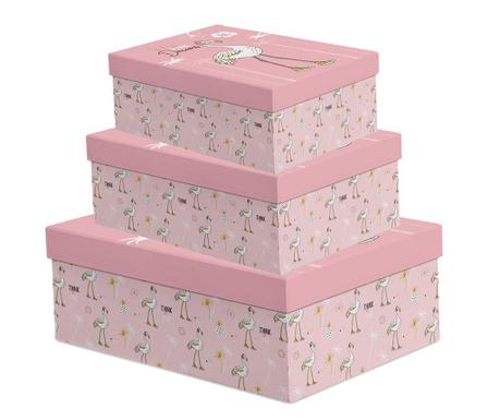 Zestaw 3 pudełek z pokrywką Flamingo Pink Dreams