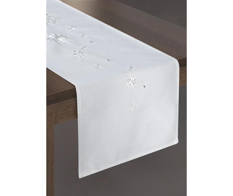 Traversa de masa Rene White 33x140 cm